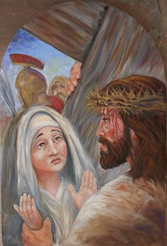 "Station ""Jesus meets his Mother(Mary) along the way"" by Randy Friemel Oil ~ 24 x 16 Pictures Of Jesus Christ, Jesus Christ Images, Catholic Prayers, Catholic Art, Religious Images, Religious Art, Jesus Our Savior, Jesus Face, Mama Mary"