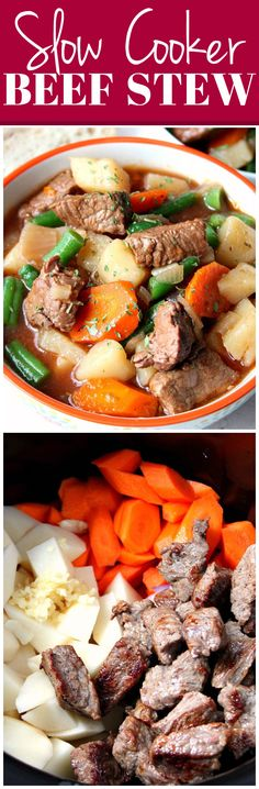 Slow Cooker Beef Stew Recipe - chunky vegetables and tender beef make this stew a comfort food at it's best! Easy prep and cooks in a slow cooker - my favorite way to make beef stew.