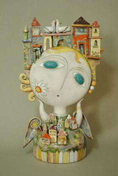 Ceramic art by Aram Hunanyan - Ego - AlterEgo Ceramic Figures, Clay Figures, Ceramic Artists, Ceramic Clay, Porcelain Ceramics, Pottery Angels, Shadow Box Art, Clay Art Projects, Ceramic Angels