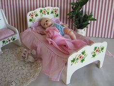 Vintage 50s Wooden Bed w/ Hand Painted Flowers in Larger Size - For 8 -10 Inch Dolls by TheToyBox on Etsy