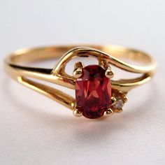 Vintage Gold Jewelry Garnet Gemstone Ring by MasCollected on Etsy, $89.00