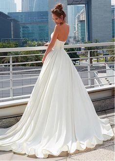 Buy discount Modest Taffeta Sweetheart Neckline A-line Wedding Dress With Belt at Dressilyme.com