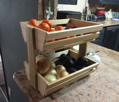 Easy Woodworking Projects I have been wanting to make something simple to hold all my fruits and veggies, so I quickly built a very easy wooden storage rack. Visit my website for other DIY/woodworking projects!