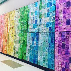 Our first collaborative artwork-Rainbow Selfies #arteducation #selfportraits #elementaryart