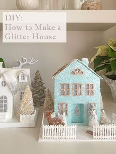 Learn how to make your own glitter house for Christmas. #glitterhouse #DIY #putzhouse