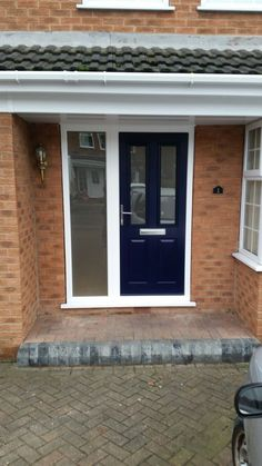 Traditional Ludlow 2 @SolidorLtd composite door in Blue with Brushed aluminium hardware, satin glass and side Panel to match. Installed in Toton, Nottingham. For a free quotation call us on 01158 660066 visit http://www.thenottinghamwindowcompany.co.uk or pop into our West Bridgford showroom.