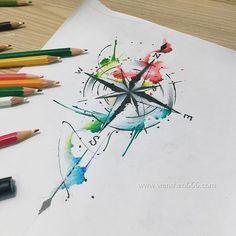 泼墨指南针纹身手稿