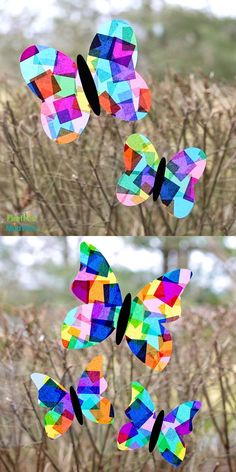 Welcome spring's sunshine and warmth by using our free printable butterfly template to make colorful Rainbow Butterfly Suncatchers. Our butterfly pattern includes two different butterfly shapes and sizes, making it the perfect template for suncatchers, easy paper crafts, painting, and more! #butterflytemplate #butterflysuncatcher #tissuepapercraft #kidscrafts