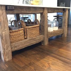 Exactly what I have in mind for my house using the old beams that have to be replaced. Love this barnwood island!