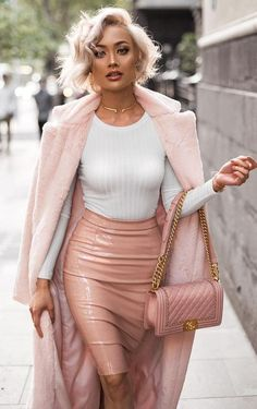 elegant  fall outfit // pink coat + top + bag + leather pencil skirt