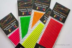 Synthetic Tapered Peacock FLUO Quill Fly Tying Materials, Fluorescent Colors, Buzzer, Nymph, Enough Is Enough, Adhesive Vinyl, Quilling, Natural Light, Peacock
