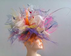 Ladies Crinoline fascinator hat /weddings/ ascot /races GO WOW
