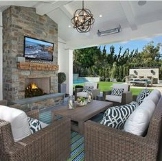 Beautiful loggia, probably between house and garage. Nice place for chilly beach evenings. California Family Home with Transitional Coastal Interiors Outdoor Living Rooms, Outdoor Spaces, Outdoor Decor, Outdoor Patios, Outside Living, Outdoor Kitchens, Casas Country, Newport Beach House, California Room