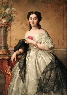 """Portrait of a Young Woman with a Lace Shawl"" by Adelaide Salles-Wagner, Wagner born (c. 1850's)."