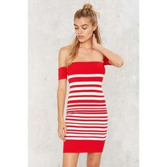 Striped Down Mini Dress ($72) ❤ liked on Polyvore featuring dresses, red, red mini dress, off the shoulder dress, short sleeve dress, striped dress and red bodycon dress
