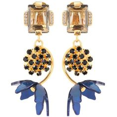 Marni Floral Horn Clip-on Earrings ($515) ❤ liked on Polyvore featuring jewelry, earrings, gold, blue jewelry, clip back earrings, blue gold jewelry, gold jewelry and floral jewelry
