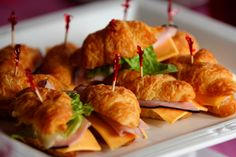 croissant sandwiches for snacks at baby shower. Pos with avocado and spinach too