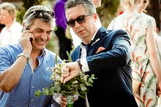 The groom with wedding planner Nikos Tsigaros waiting for the bride !