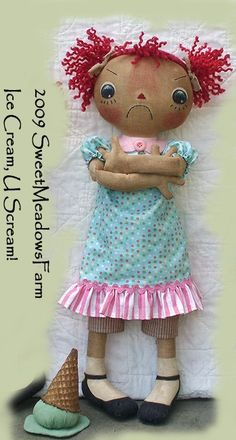 Primitive E-PATTERN Raggedy Dolls and Ice by SweetMeadowsFarm