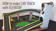 HOW to make CAR TRACK with ELEVATOR and parking of cardboard