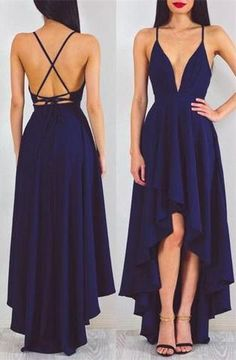 Sexy A-line Deep V-neck High Low Dark Navy Blue Chiffon Prom Dress Evening Dress