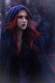 The deep blue hood could not cover her scarlet hair. Her pale cheeks were flushed pink from the cold.