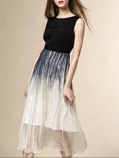 Color-block Silk Midi Dress