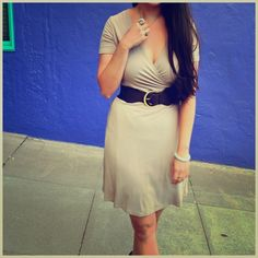 Nude wrap dress This dress is designed to wrap around you & tie in the back, so you can make it as tight or loose as you want. Worn once (for this photoshoot) & in perfect condition. Perfect for summer! Belt not included. NO TRADES, THANKS! Wituji Dresses