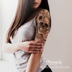 "Skull and Rose with Lace Half Sleeve Tattoo Design - ""Amazing Tattoo Begin . - Skull and rose with lace half sleeve tattoo design – ""Amazing tattoo starts with a high quality d - Feminine Skull Tattoos, Skull Rose Tattoos, Skull Sleeve Tattoos, Foot Tattoos, Tribal Tattoos, Lace Skull Tattoo, Skull Thigh Tattoos, Turtle Tattoos, Spine Tattoos"