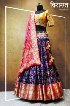Half Saree Designs, Blouse Designs Silk, Choli Designs, Lehenga Designs, Lehenga Dupatta, Half Saree Lehenga, Indian Bridal Lehenga, Anarkali, Bandhani Saree