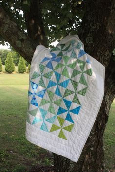 """Baby Quilt Kit """"Pinwheels"""" - Blue, Green, and White by PebbleCreekArts on Etsy"""