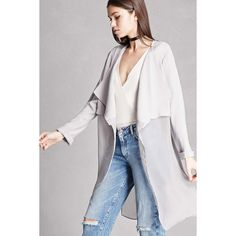 Forever21 Drape-Front Duster Jacket ($58) ❤ liked on Polyvore featuring outerwear, jackets, grey, long draped jacket, lightweight jackets, grey jacket, lapel jacket and gray jacket