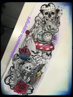 Change rose to 3 pumpkins, put as time on clock, on bricks put numbers Time Tattoos, Leg Tattoos, Body Art Tattoos, Disney Sleeve Tattoos, Disney Tattoos, Unique Tattoos, Beautiful Tattoos, Tattoo Sleves, Nightmare Before Christmas Tattoo