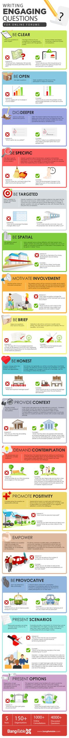 How To Write Engaging Questions for Online Forums Infographic - e-Learning Infographics E Learning, Blended Learning, Learning Theory, Marketing En Internet, Content Marketing, Marketing Trends, Training And Development, Staff Training, Instructional Design