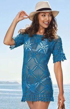 Crochet dress beach wear beach tunic made to order FREE Crochet Beach Dress, Beach Tunic, Beach Wear Dresses, Dress Beach, Gypsy Skirt, How To Start Knitting, Linen Skirt, Summer Patterns, Beachwear