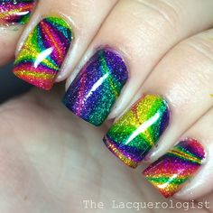Rainbow Water Marble Nails • The Lacquerologist. OPI Color Paints over KBShimmer Alloy Matey! base.