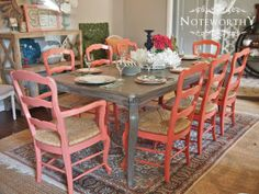 Fabulous French Dining Set for 8 - Coral & Grey by noteworthyhome on Etsy, $1400.00 rush seats, rush chairs, french dining set, coral chairs, daring sherwin williams, greige, dining set, colorful, painted furniture, refinished