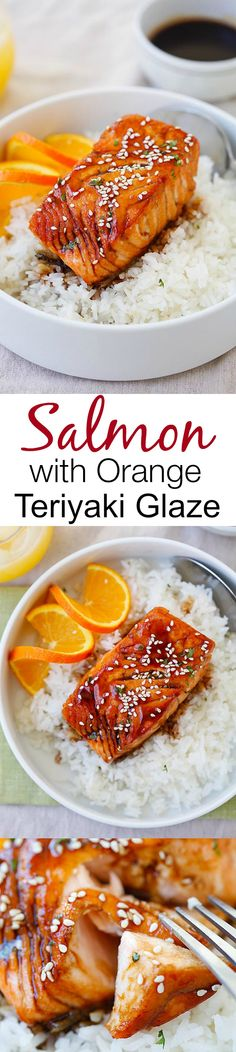 with Orange Teriyaki Glaze – the easiest & tastiest salmon you'll ever make. Delicious salmon with tangy, sweet & savory orange teriyaki sauce Fish Recipes, Seafood Recipes, Asian Recipes, Cooking Recipes, Healthy Recipes, Salmon Dishes, Fish Dishes, Seafood Dishes, I Love Food