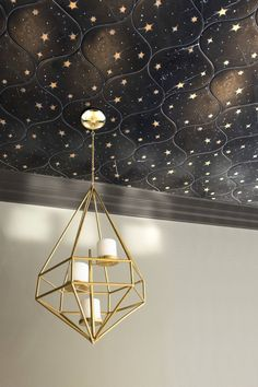 Astronomy, a waterjet stone mosaic, shown in Venetian honed Nero Marquina and Brass, is part of the Trove™ collection for New Ravenna. Starry Ceiling, Ceiling Stars, Star Lights On Ceiling, Dark Ceiling, Star Bedroom, New Ravenna, Bedroom Ceiling, Ceiling Decor, Mid Century Decor