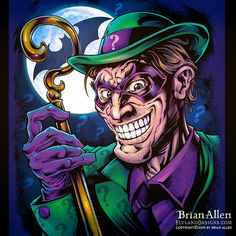 Fan art I created of the Riddler if the Riddler existed in a universe where everyone had too many teeth. Rainbow Gif, Dc Comics, Batman Artwork, Famous Cartoons, 1 Tattoo, Batman Universe, Riddler, Gotham City, Betty Boop