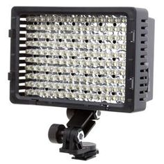 """Video LED light for DSLRs--Key Features  Light output about 380 Lux at 4 feet = 7000 lumens?  Shoe Mountable LED Video Light Features 160 LEDs Daylight Color Temperature of 5600 Kelvin Uses 6 """"AA"""" Batteries Runs (Approximately) 2.5 Hours on a fresh Set of Batteries LED Battery Status Test Indicator Fluorescent, Amber and Diffuser panels Metal Shoe"""