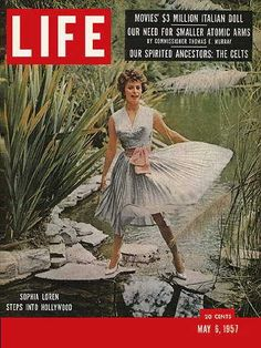 """Sophia Loren ~ Life Magazine ~ May 6, 1957 issue ~ Click image or visit oldlifemagazines.com to purchase. Enter """"pinterest"""" at checkout for a 12% discount."""