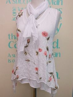 WHITE VINTAGE FLORAL SUMMER LAGENLOOK TUNIC TOP SET WITH SCARF UK 8-12 | eBay