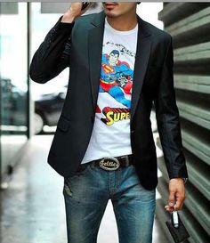 2015 Plus Size Mens Business Blazer Fashion slim fit Jacket Blazers Coat Button suit Men Formal suit jacket Blazers For Men Casual, Casual Suit, Style Casual, Casual Blazer, Black Blazers, Cheap Blazers, Blazer Jeans, Blazer Suit, Formal Suits