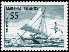 """Jaluit sailing canoe, designed by American artist Herbert """"Herb"""" Kawainui Kane (1928-2011), engraved by Czeslaw Slania, and issued by Marshall Islands on January 19, 2001, Scott No. 779."""
