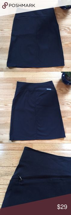 """Patagonia Black Nylon Skirt This black skirt from Patagonia work for work or play. Featuring a small zip pocket on the hip, this skirt is 85% Nylon and 15% polyester. A size 6, it measures 15"""" across the waist; length 22"""". EUC Patagonia Skirts"""