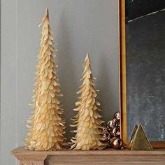 miniature christmas trees made of wood