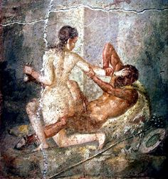 Hermaphroditus struggles with a satyr, fresco from Pompeii 45-79 AD at the National Archaeological Museum, Naples