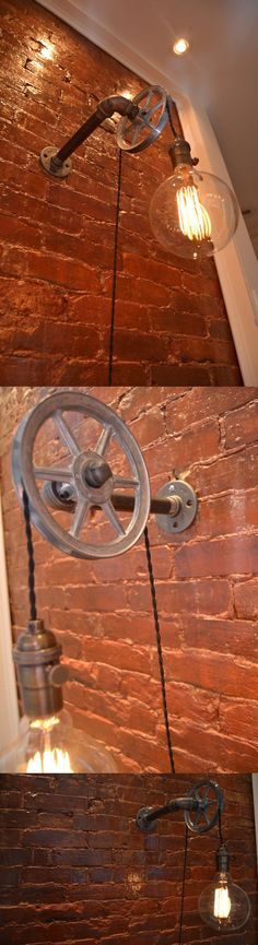 Loft Vintage Nostalgic Industrial Lustre Water Pipe Pulley Wall Sconce Lamp Resturant Hotel Bar Stair Home Decor Modern Lighting $109
