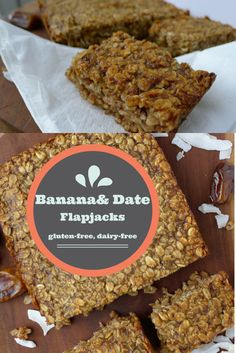 Banana and Date Flapjacks free from gluten, dairy, eggs, soya, nuts and refined sugar. got to make these for their healthy breakfasts and healthy lunches for kids Sugar Free Baking, Sugar Free Recipes, Gluten Free Baking, Sweet Recipes, Baking Recipes, Free From Recipes, Dairy Free Gluten Free Cake, Cookie Recipes, Banana Flapjack
